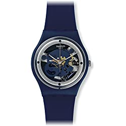 Swatch Unisex 34mm Blue Silicone Band Plastic Case Swiss Quartz Analog Watch GN245