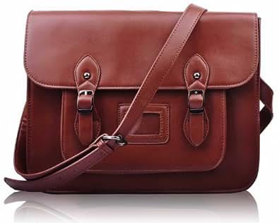 Damen Designer braun Satchel Bag Classic Damen Office Schulter Handtasche KCMODE
