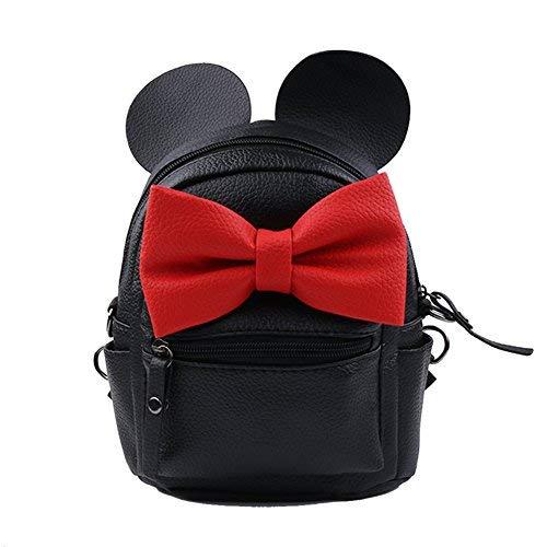 Mini Sac à Dos Femme PU Cuir Bowknot Multiusage Big Oreilles Imperméable Backpack (Noir)