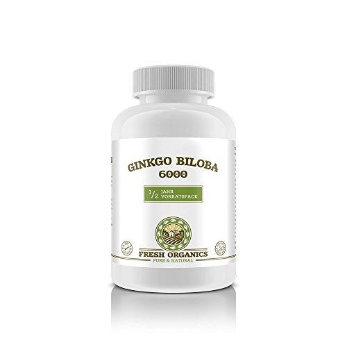 Ginkgo Biloba 6000 | 180 Tabletten (vegan) für 1/2 Jahr | HOCHDOSIERT | Reines Extrakt in Premium Qualität