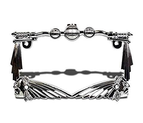 TC Sportline LPF248-C Universal 3D Indian Chief Handle Bar Chrome Motorcycle License Plate Frame by TC Sportline
