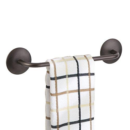 mDesign Toallero autoadhesivo sin tornillos en casi todas las superficies lisas – Ideal para paños de cocina – Ganchos en color bronce