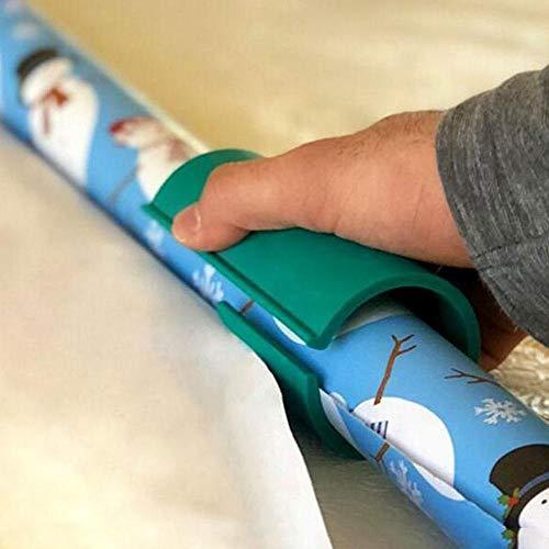 AOLVO Geschenkpapierschneider, Mini-Weihnachts-Geschenkpapier-Rollschneider, Schiebeschere, Papierschneidemaschine, Werkzeug, Weihnachtsdekoration, Geschenk-Schneidwerkzeug grün