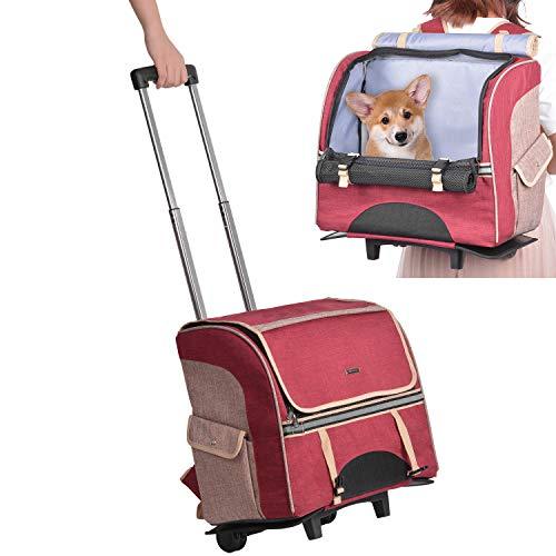 trasportino portatile per animali domestici da viaggio passeggino trasportino per animali domestici su ruote zaino per trasporto di cani e gatti in tessuto a rete 51/×39cm per animali domestici