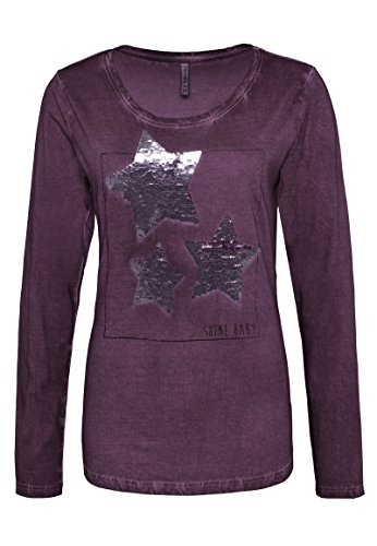Sublevel Damen Longsleeve mit Pailletten-Sternen | Leichtes Langarm-Shirt im Used Look aus Reiner Baumwolle Purple XS