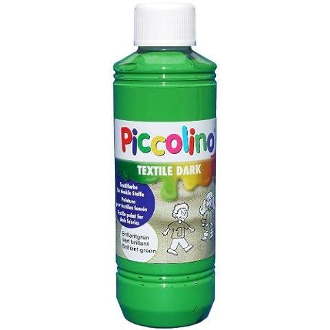 Encre, Peinture pour textile foncé, Vert brillant 250 ml - Piccolino Textile Dark - Peinture pour tissus et soie clairs et foncés