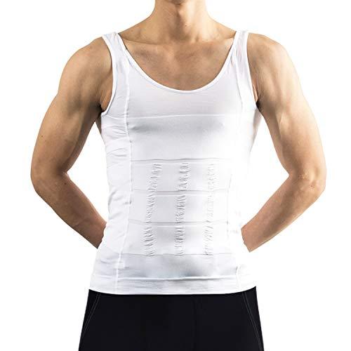 haper für Männer - BILD Kompression Shirt reduziert Bauch und Brust, für aufrechte Position und maskuline Walking - weiß (M) ()