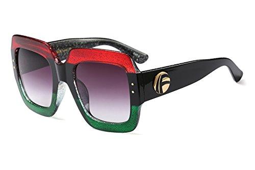 FEISEDY Oversized Square Sonnenbrille Multi getönten Glitter Frame stilvolle inspiriert B2276