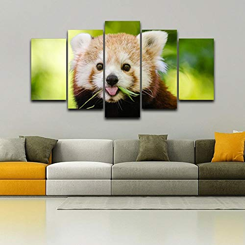 JZGDH Dipinto Ad Olio Soggiorno Parete Appeso Decorazione Residenza Artista 5 Simpatico Panda Rosso Dipinto Animale Cornice Poster 200X100Cm