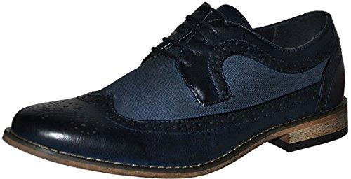 chaussures à lacets, derbies homme à bouts fleuris, chaussures de ville Bleu 3037