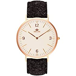 Swiss Quartz Stornoway Men's Watch By Birline - Durable Stainless Steel Case - Scratch Resistant Sapphire Glass Lens - Unique Harris Tweed Straps With Soft Leather Backing - 6mm Thick - Elegant Design