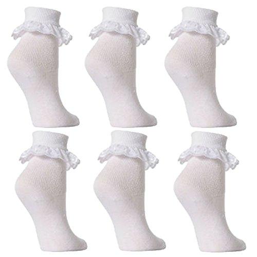 Babysocken, für Mädchen, Spitzensaum mit Rüschen, Weiß, 6Paar -