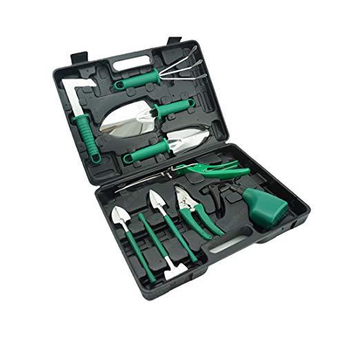 DSAEFG 10-Piece Garden Tool Set, Ergonomic Non-Slip Handle Including Shovel Sprayer Rake Weed Trowel with Carry Bag Gardening Gifts