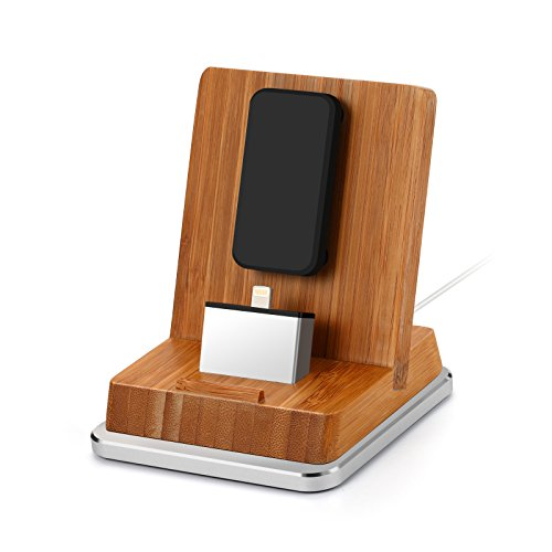 Komost Bambus iPhone Dockingstation, Ladestation Stehen mit Aluminium Basis für iPhone 8 Plus / 8, iPhone X, iPhone 7 Plus / 7, iPhone SE, 6S Plus / 6S / 6 Plus / 6, 5S / 5, iPad, iPad Air, iPad Mini