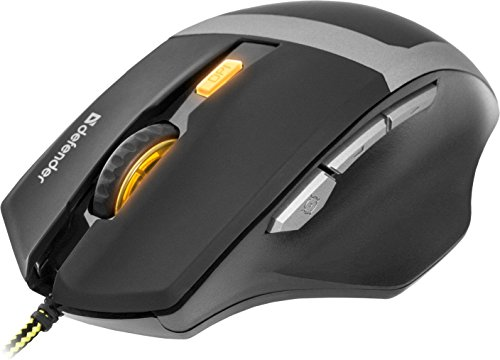 Defender gm-1740USB 3200DPI und Rechtshänder, schwarz, grau–Maus (USB, spielen, Tasten pressoirs, Laufrad, 3200dpi, PC/Laptop (Laufrad 1200)