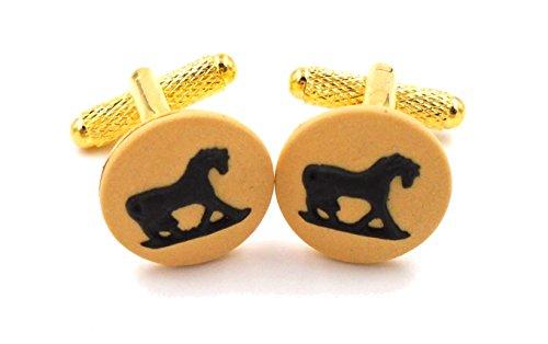 """Preisvergleich Produktbild 'Wedgwood: Gold straffen gelb & schwarz Jasperware Manschettenknöpfe """"Pferd w/Schwanz Down"""""""
