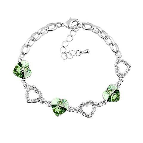 Le Premium® Bracelets à breloques en cristal trèfle PRIS AVEC SWAROVSKI® ELEMENTS Péridot