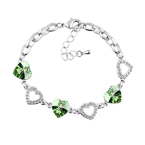 Le Premium® -cuori collegano braccialettoa forma di cuore SWAROVSKI peridoto cristalli verdi rodiato