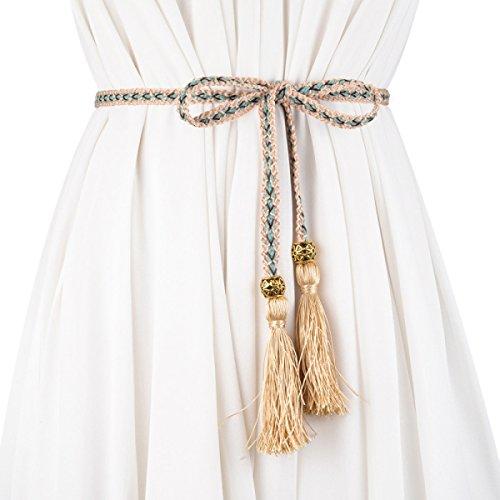 Mode Frauen Weben Taille Gürtel-Verstellbare Retro Leder Cinch Bund Für Mantel Und Kleid Dekoration Quaste Seil,Khaki-160CM (Cinch-taille Tunika)