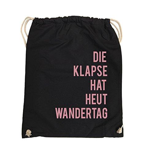 Comedy Bags - DIE KLAPSE HAT HEUT WANDERTAG - Turnbeutel - 37x46cm - Farbe: Schwarz / Weiss Schwarz / Rosa