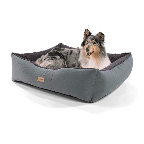brunolie Emma großer Hundekorb in Dunkelbraun, waschbar, hygienisch und rutschfest, luftiges Hundebett mit Kissen zum Kuscheln, Größe L (100 x 90 x 30 cm) (Mädchen Kleine Hund Bett)