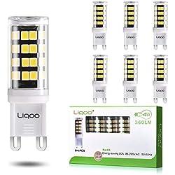 Liqoo 6 x 4W G9 Focos LED Bombillas Luces Blanco frío 6000K Ángulo de haz 260 grados Equivalente equivalente 30W Lámparas 2835SMD 360LM AC 86-265V