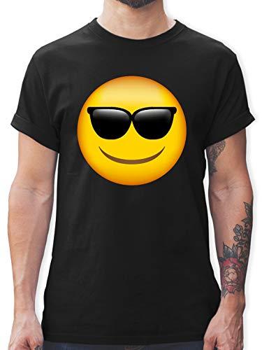 Comic Shirts - Emoji Sonnenbrille - XL - Schwarz - L190 - Herren T-Shirt und Männer Tshirt