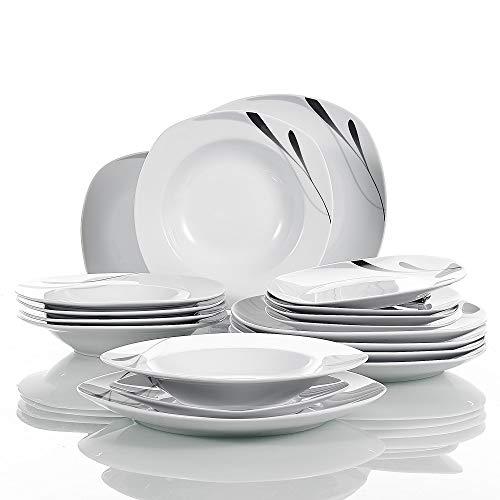 VEWEET 18-teilig Tafelservice aus Weiß Porzellan, Serie 'Karla', Teller Set für 6 Personen, mit je 6 Dessertteller, 180 ml Suppenteller, Speiseteller Küche Dekor-set
