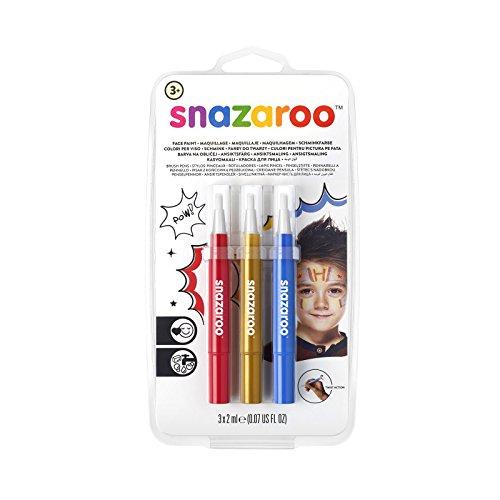 Snazaroo 1180140 Kinderschminke, Schminkstift mit Pinselspitze, 3 Farben Set Abenteuer, rot/gold/blau