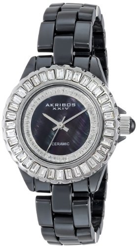 Akribos XXIV Femme AK518SSB Quartz en céramique Bracelet Baguette Montre par Akribos XXIV