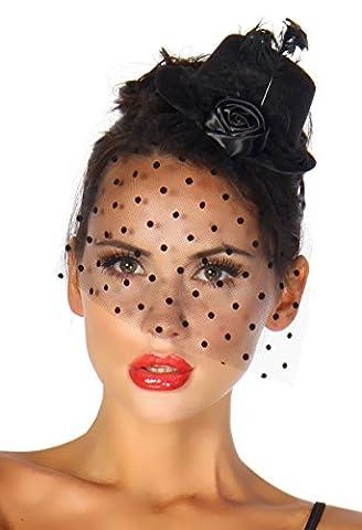 Burlesque Kostüm Karneval Fasching Mini-Hut Fascinator mit Netz-Schleier A12096-1,