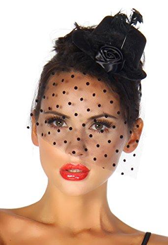 Burlesque Kostüm Karneval Fasching Mini-Hut Fascinator mit Netz-Schleier A12096-1, Größe:onesize;Farbe:schwarz