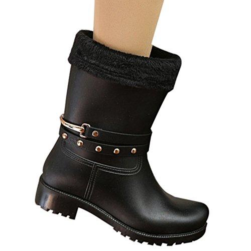 Mode Booties (YOUJIA Damen Mode Slip On Wellington Wasserdichte Gartenschuhe Aqua Booties Regenstiefel (Schwarz / Socken Futter, CN 41))