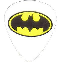 """Unique et personnalisé"""".76mm d'épaisseur-Tirant medium Plastique rigide-Pointe ronde"""" médiator de guitare avec symbole de batte de Batman Superhero ovale {Jaune, Noir et Blanc-Unique Pick}"""