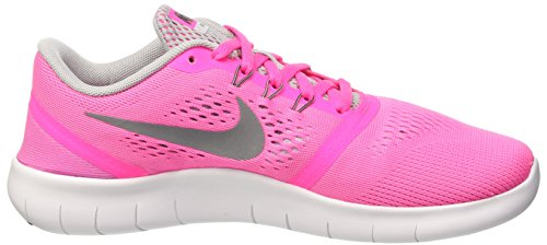 Nike Mädchen Free Rn Gs Trainingsschuhe Multicolore (Pink Blast/Metallic Silver-White-Black)