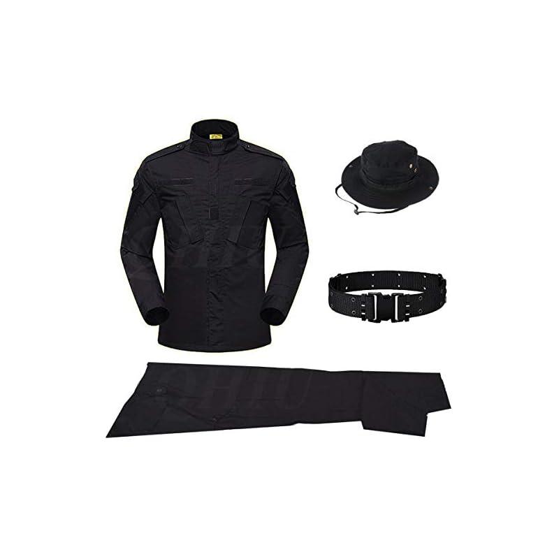 QHIU Uniform Tactical Suit with Belt Boonie Hat BDU Combat Men's Camo Jacket Shirt & Pants Army Set Military for Airsoft…