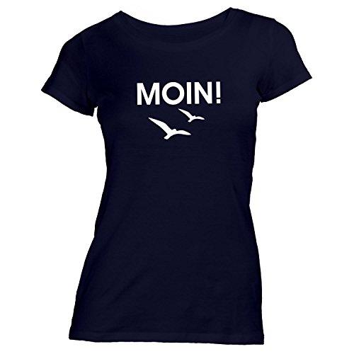 ShirtFlow Damen T-Shirt Moin! Möwen, Schwarz, L