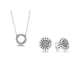Pandora Original Geschenkset – 1 Silber Ohrstecker 290559CZ Logo + 1 Silber Kette 590514CZ-45 Logo