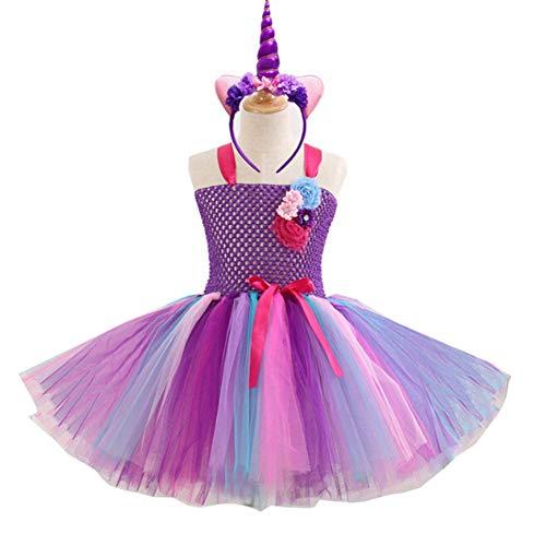 iKulilky Baby Mädchen Kostüm,Einhorn Tüll Geburtstag Kleid,Prinzessin Rock,Blumen Kleid,Kleid + Kopfbedeckung Hochzeit Karneval Halloween Kostüm - 4T-5Y(36CM) (Für Baby-blume-kostüme Halloween)