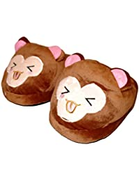 Royal Deluxe Plush Monkey Face Adult Teen Slippers - 4 Designs