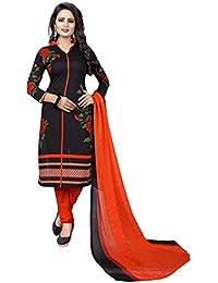 Rangrasiya Women's Black Faux Crepe Printed Salwar Suit