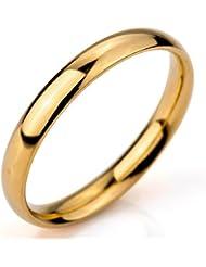 MunkiMix Ancho 3mm Acero Inoxidable Anillo Ring Banda Venda Oro Dorado Alianzas Boda Hombre,Mujer
