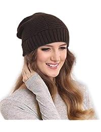 DRUNKEN Women's Ribbed Knitt Woollen Beanie Cap Brown Free_Size