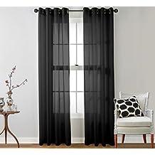 Negro Cortinas De Ojal Transparentes De Gasa De Tul Cenefa Decoracion Para La Habitacion De Estar