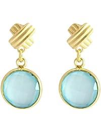 Gemshine - Damen - Ohrringe - 925 Sterling Silber - Vergoldet - Chalzedon - Aqua - CANDY - 3,5 cm