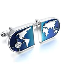 MunkiMix 2 Pieza Rodio Plateado Gemelos Plata Azul Mapa Del Mundo Camisa Alianzas Boda Negocios 1 Coppia Conjunto Set Hombre