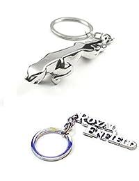 Gadget Deals Royal Enfield Silver And Jaguar Combo Keychain