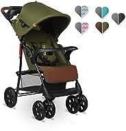 Lionelo Emma Plus barnvagn lätt modern liten Buggy med liggläge hopfällbar (Forest Green)