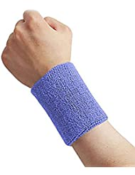 Anam 2piezas de hombre y mujer muñequeras muñequera para tenis, bádminton, Fitness. (3pulgadas), color azul, tamaño 3 *3.5 inch