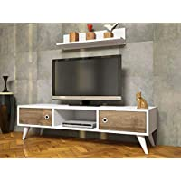 Bravo wooden TV table with wall racks - Multi Color, Size: 35 cm*130 cm*40 cm